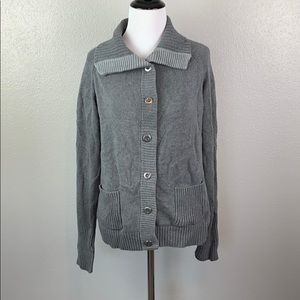 Grey knit button up sweater thick collar